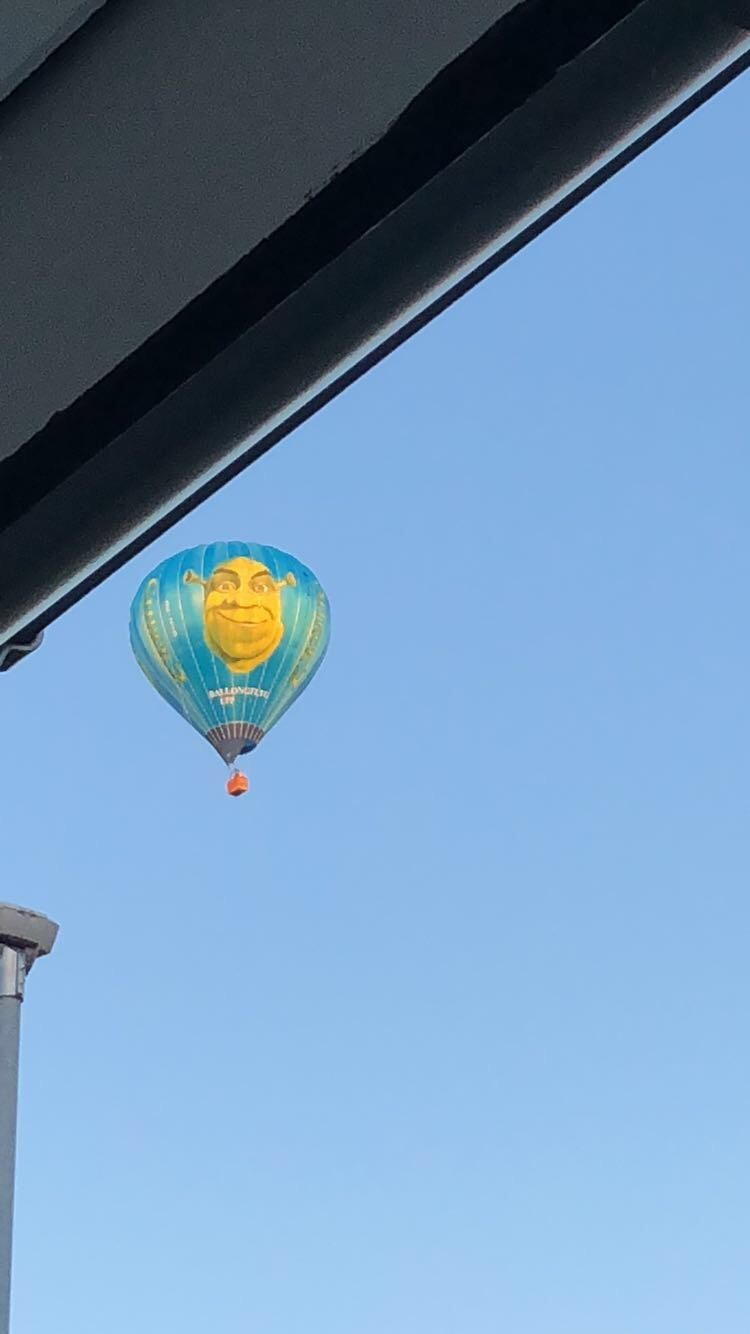 This hot air ballon flew past my house