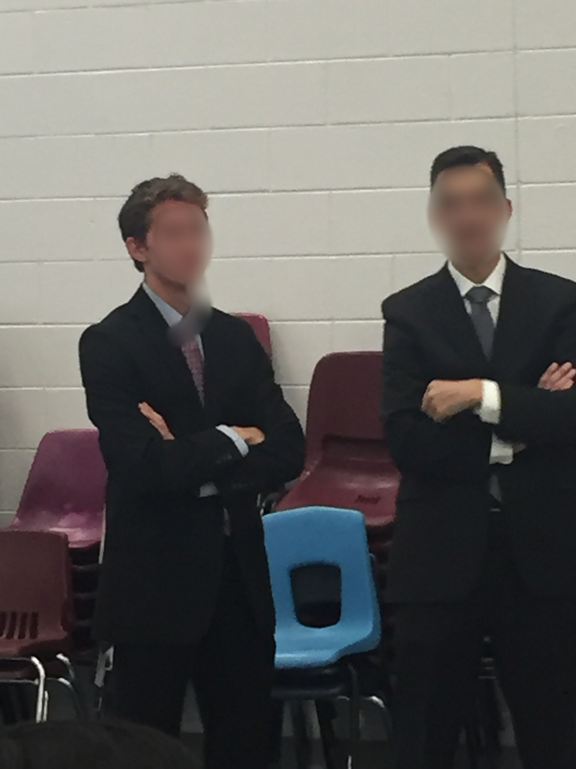 This guy at my school went as the principal for Halloween. The principal regularly walks around the lunchroom during lunch, so this guy did the same.