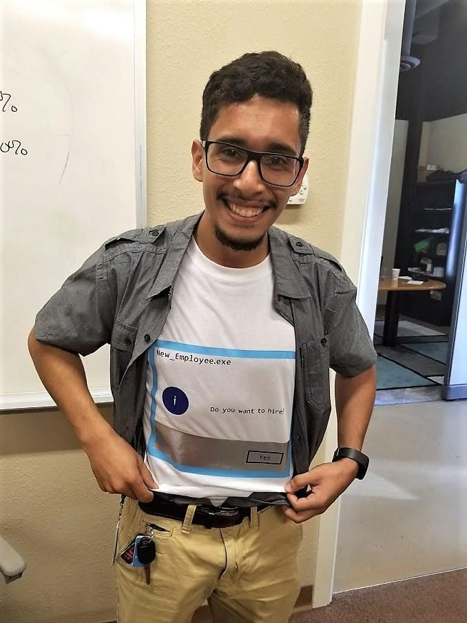 We had a candidate interview for an IT position today. He literally designed and printed this shirt because he was interviewing on Halloween! Needless to say, we hired him...