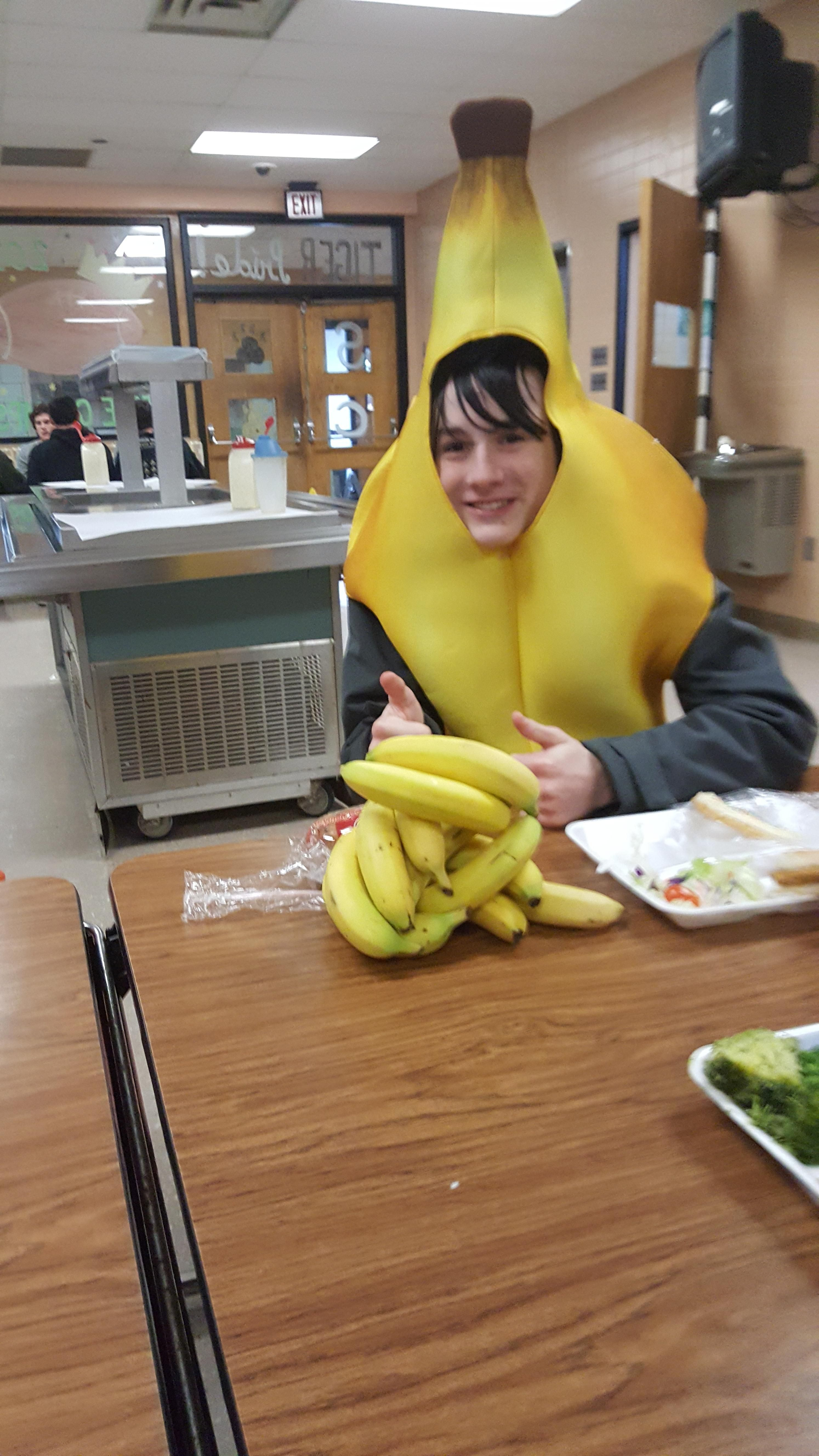 The new kid at my school came in dressed as a banana today. The school lunch included a banana so naturally, everyone was donating their bananas to him