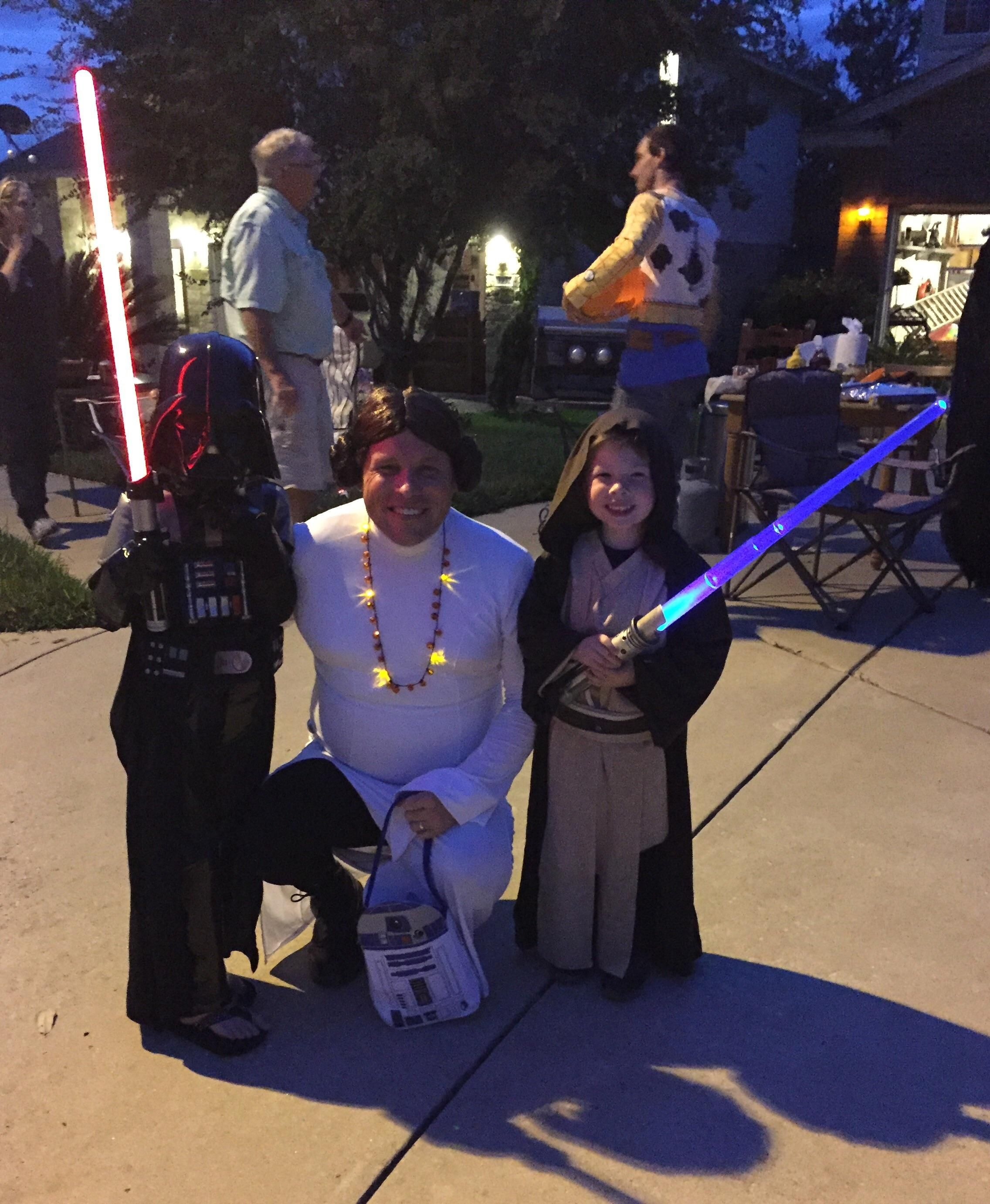 When your wife got sick on Halloween but your kids really want princess Leia to go with them