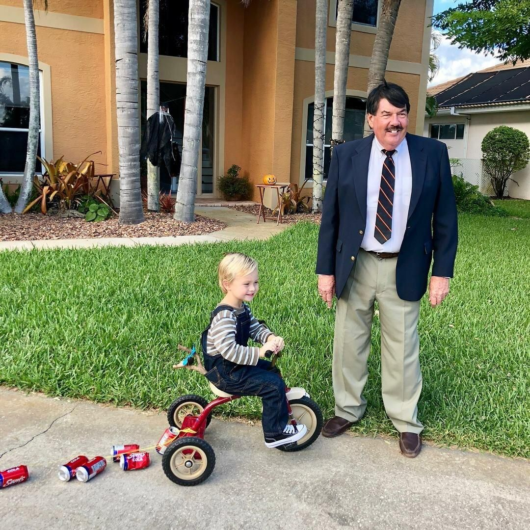 My dad and nephew as Dennis and Mr. Wilson