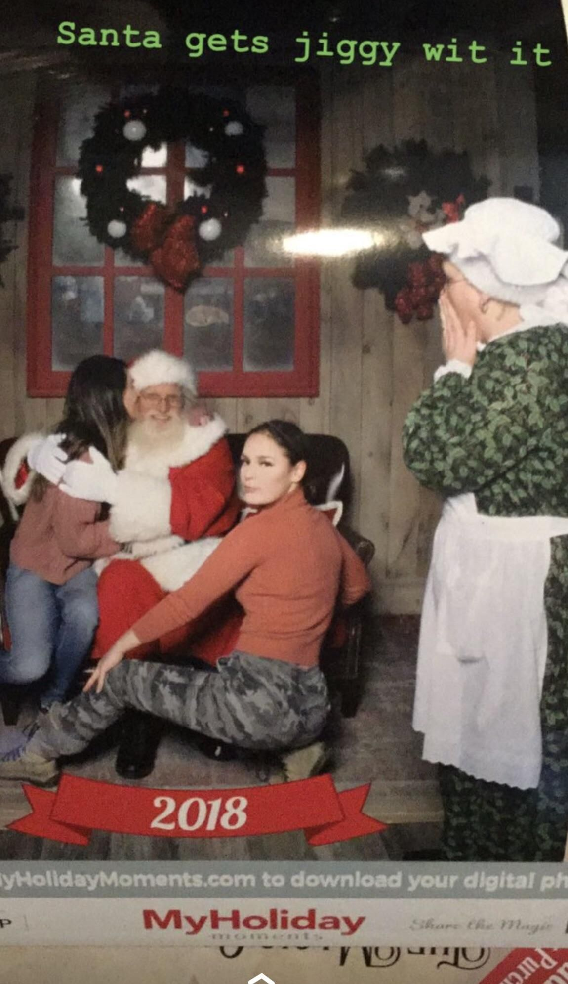 A friend and I got a picture with santa, parents in line we're not impressed