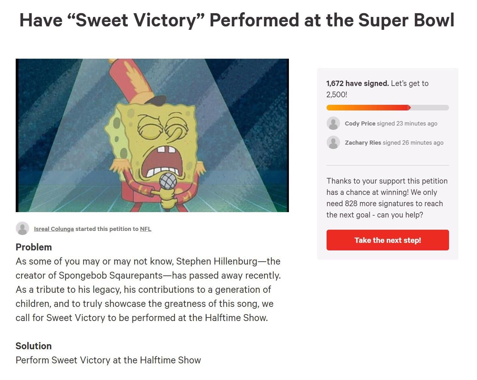 "Petition to have song ""Sweet Victory"" from Spongebob performed at the Super Bowl"