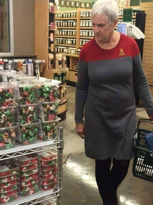 When you're trying to look festive but you end up looking like a Starfleet member.