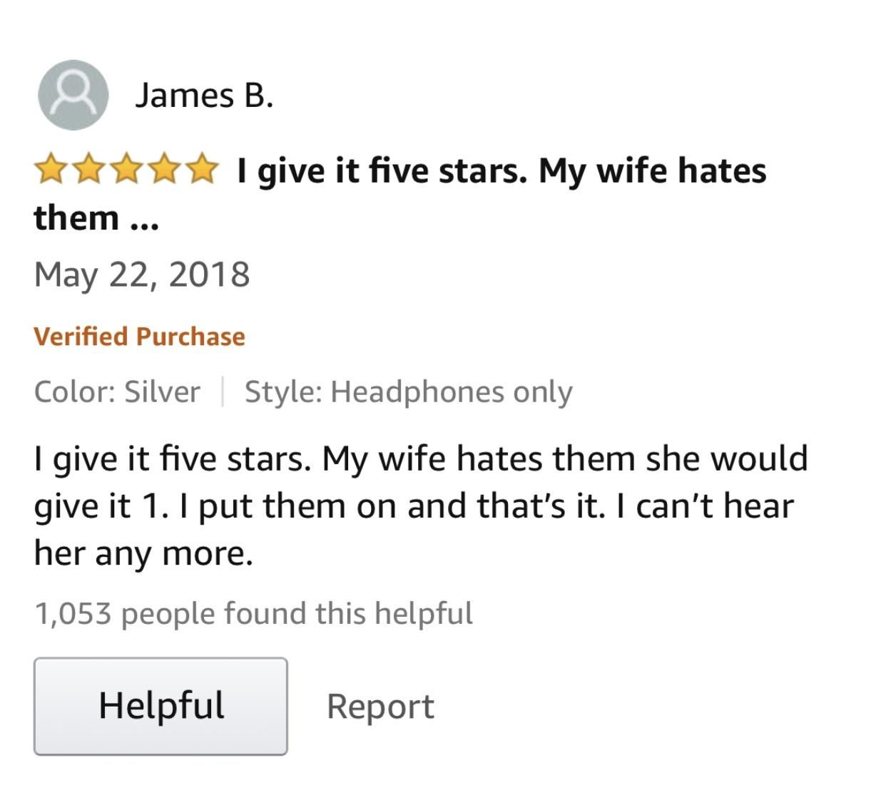 This 5-star verified review for noise canceling headphones