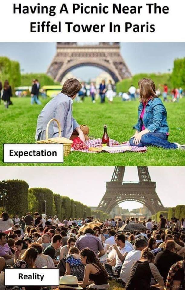 Having a picnic near the eiffel tower in paris
