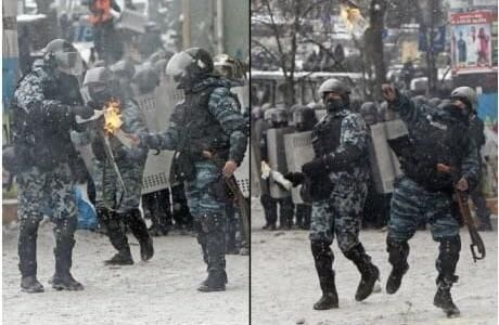 In mother Russia, riot police riot you
