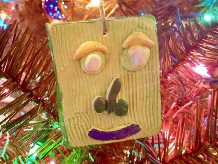 My son made this ornament for me when he was 7. Makes me laugh every year.