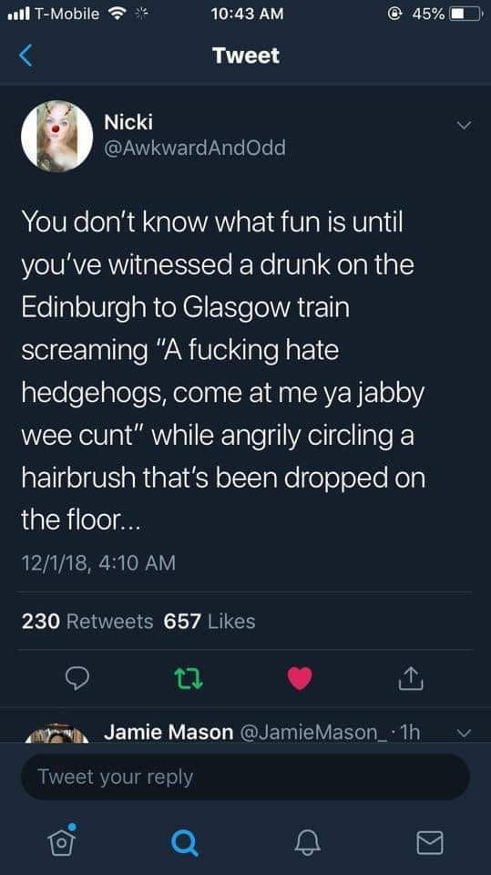 Damn, Didnt see that in Edinburgh