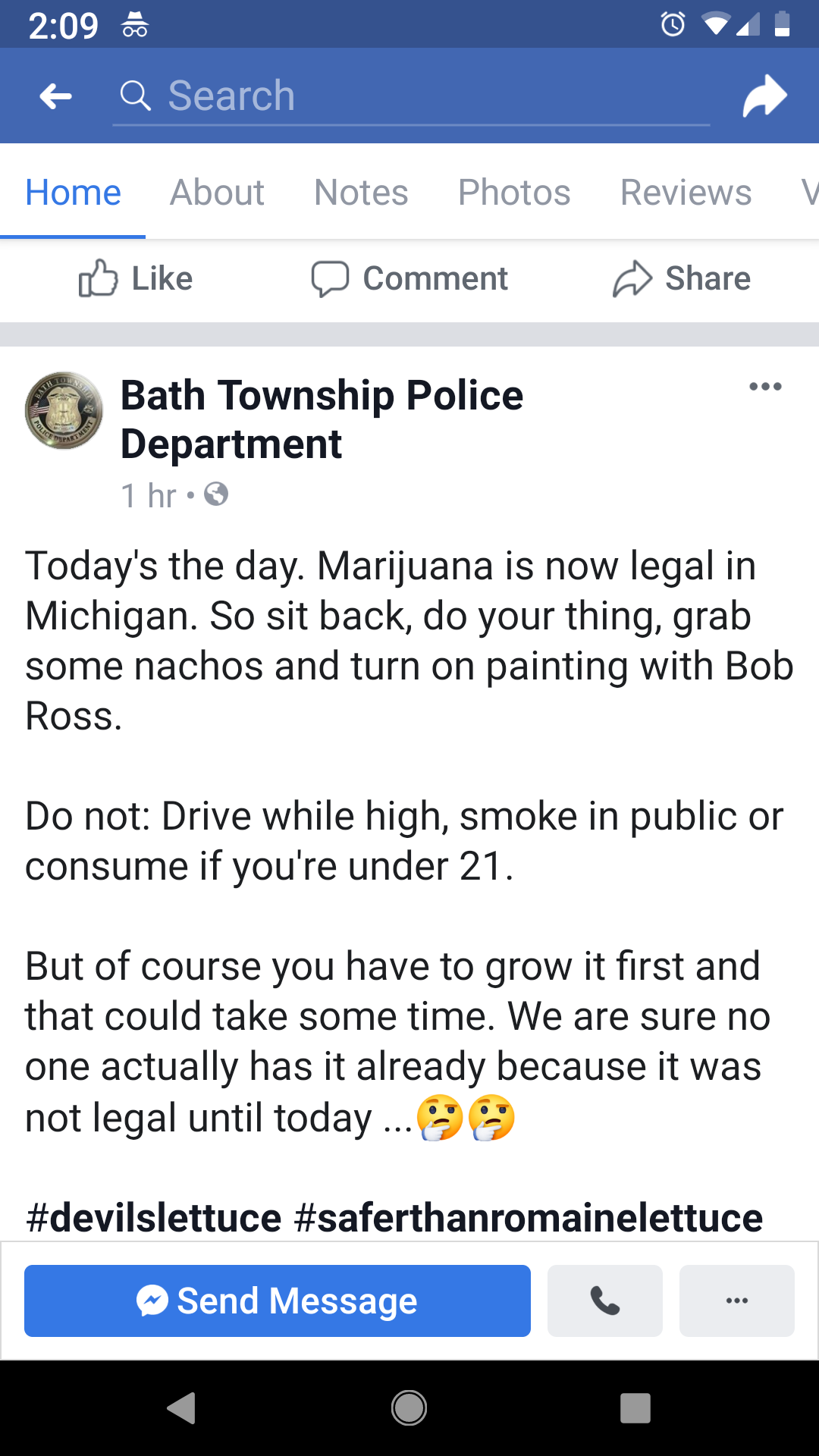 Weed is legal today, the po po got jokes