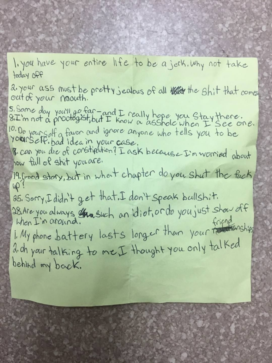 My mom found this in the desk of one of her 5th graders