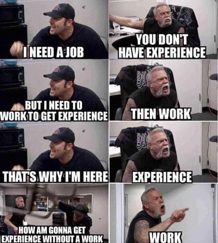 When you try to get your first job