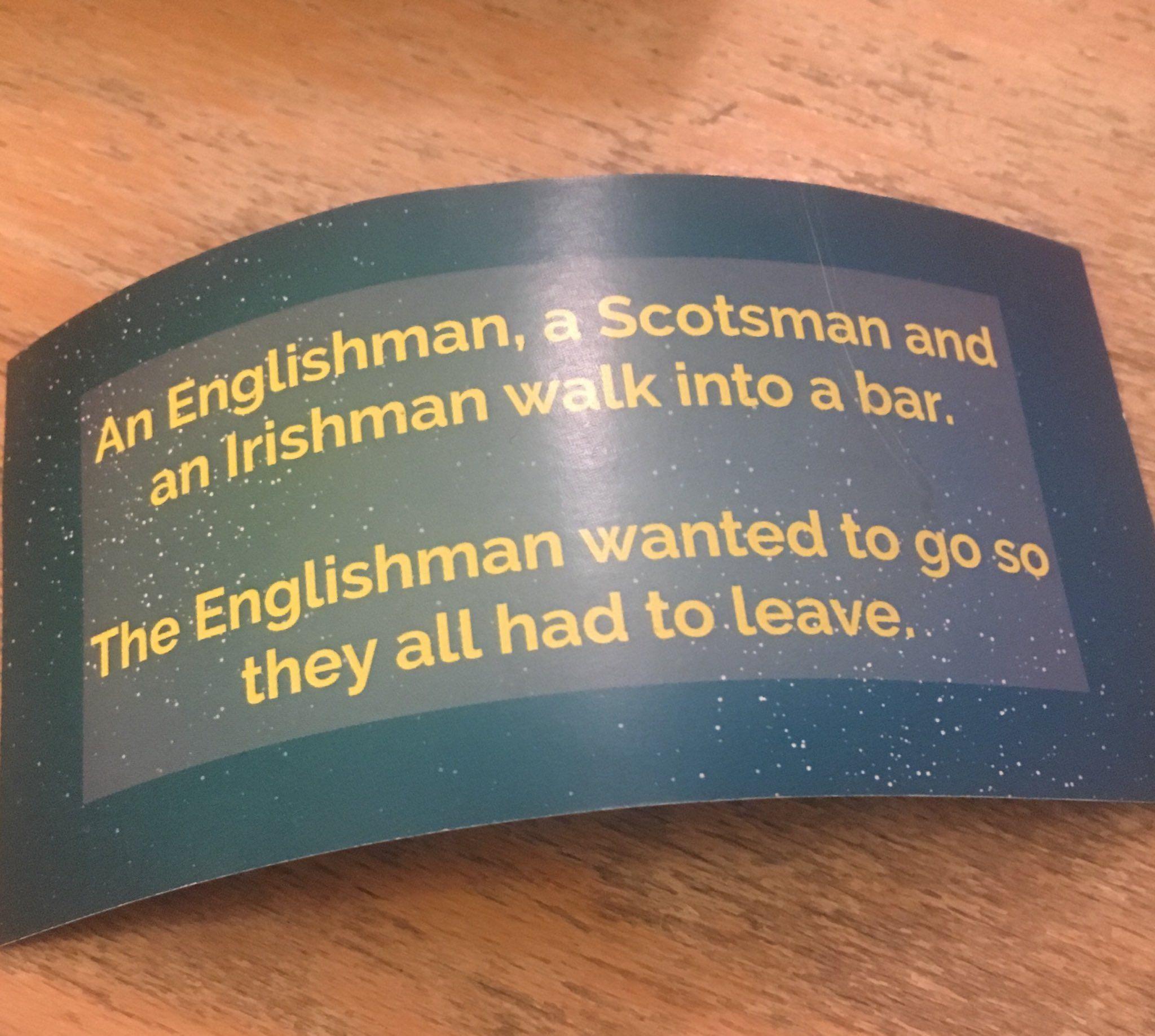 An Englishman, a Scotsman and an Irishman walk into a bar...