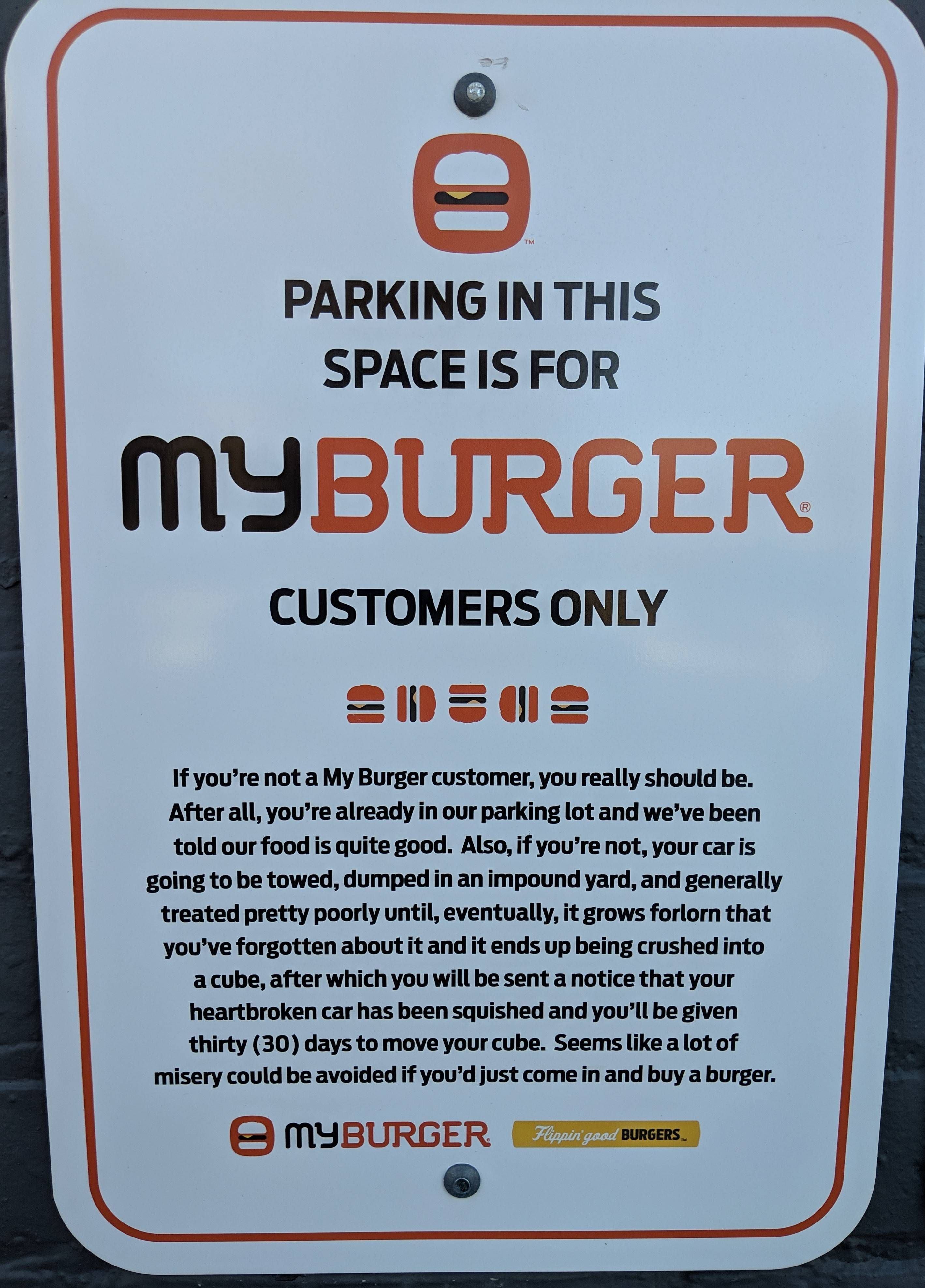 This Parking Sign at a MyBurger is gold