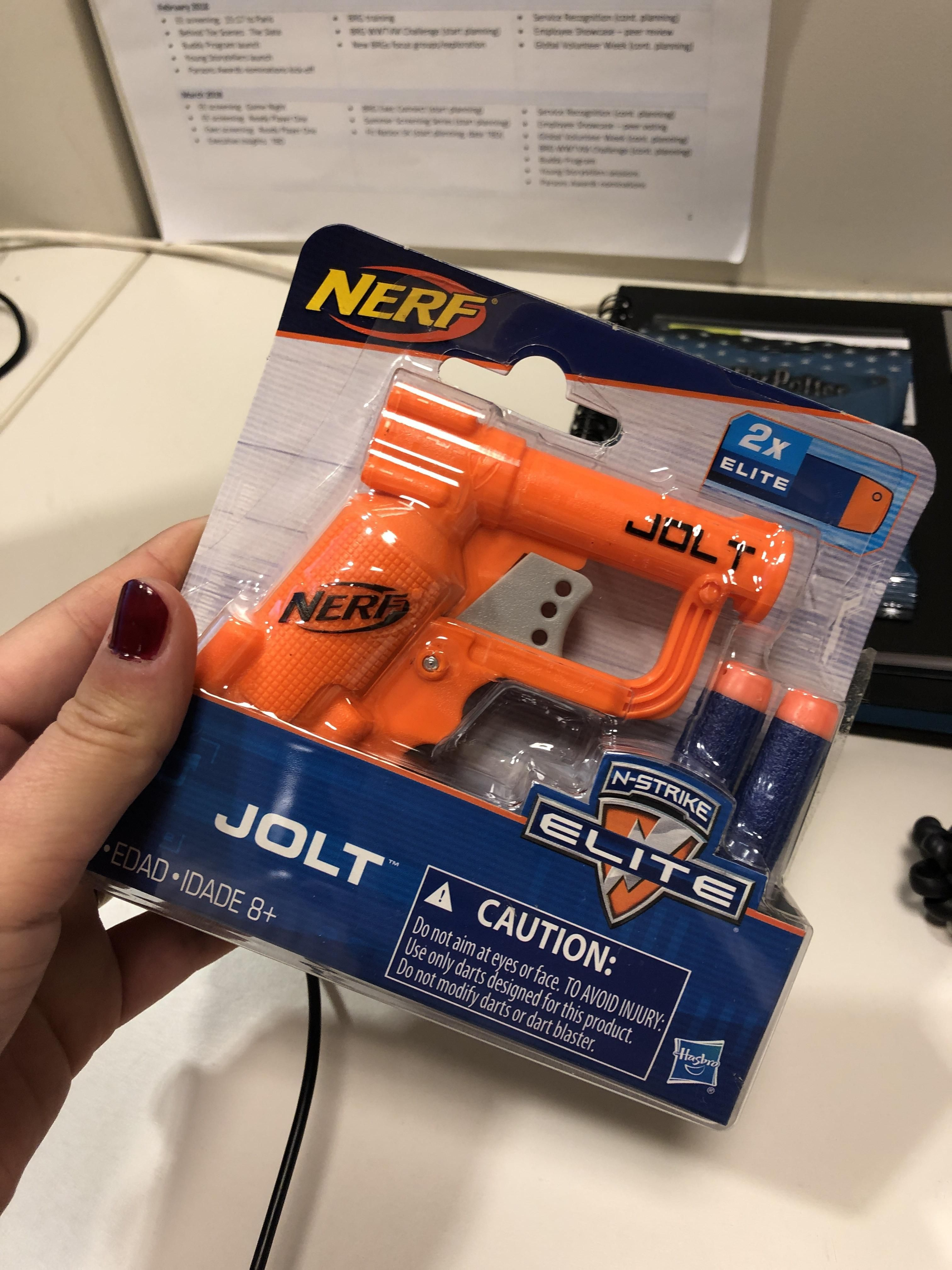 It's my first day of my new job and my boss gave me a nerf gun to shoot my co-workers with. I can tell I'm going to like it here.