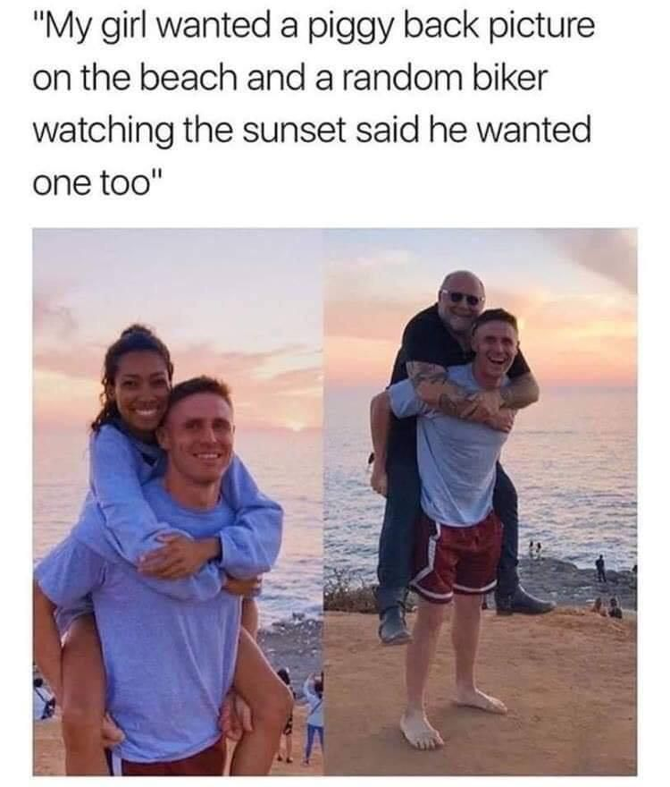 He looks happier with the biker...