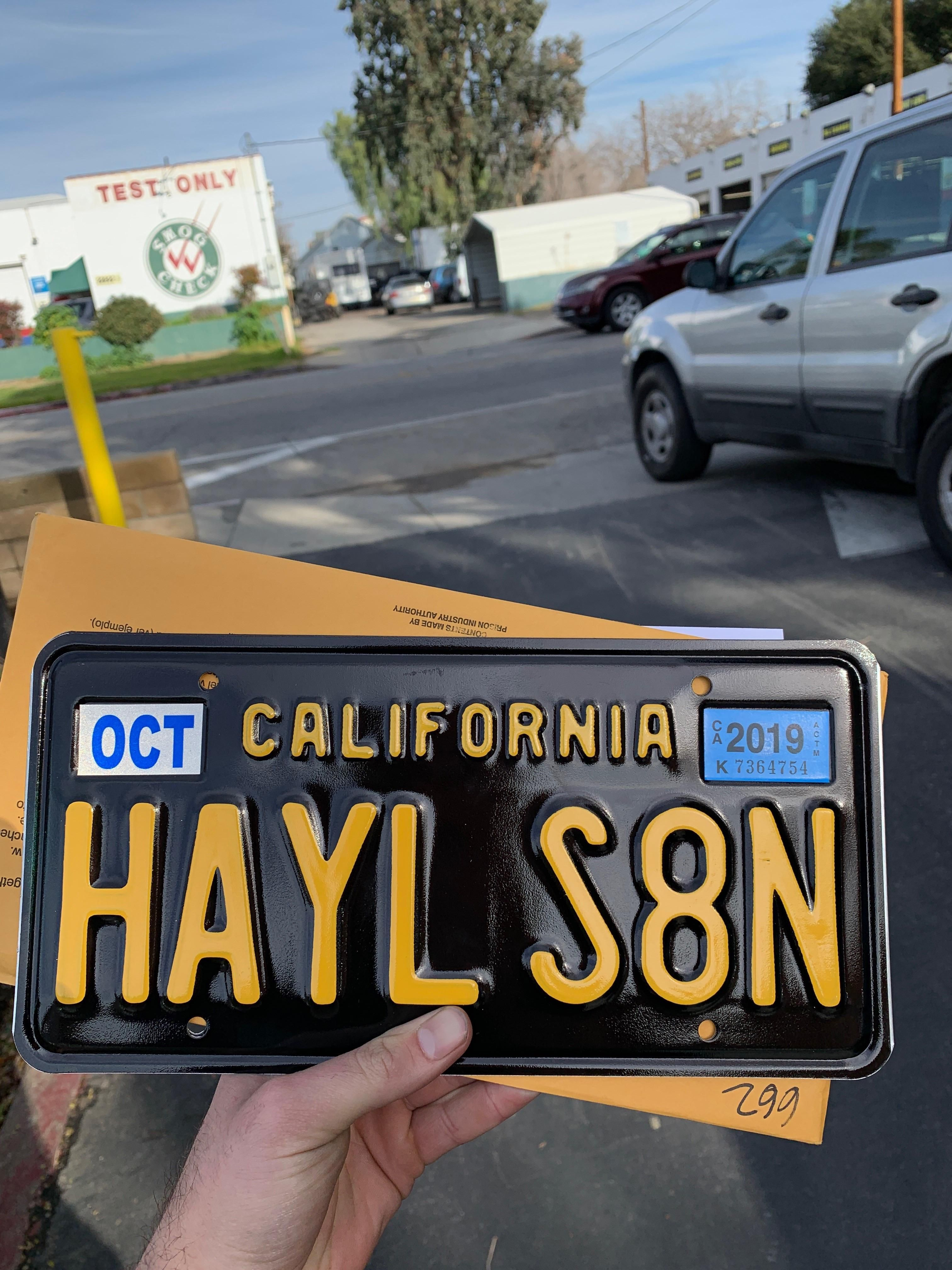Buddy of mine just picked up his license plate, no he's not serious.