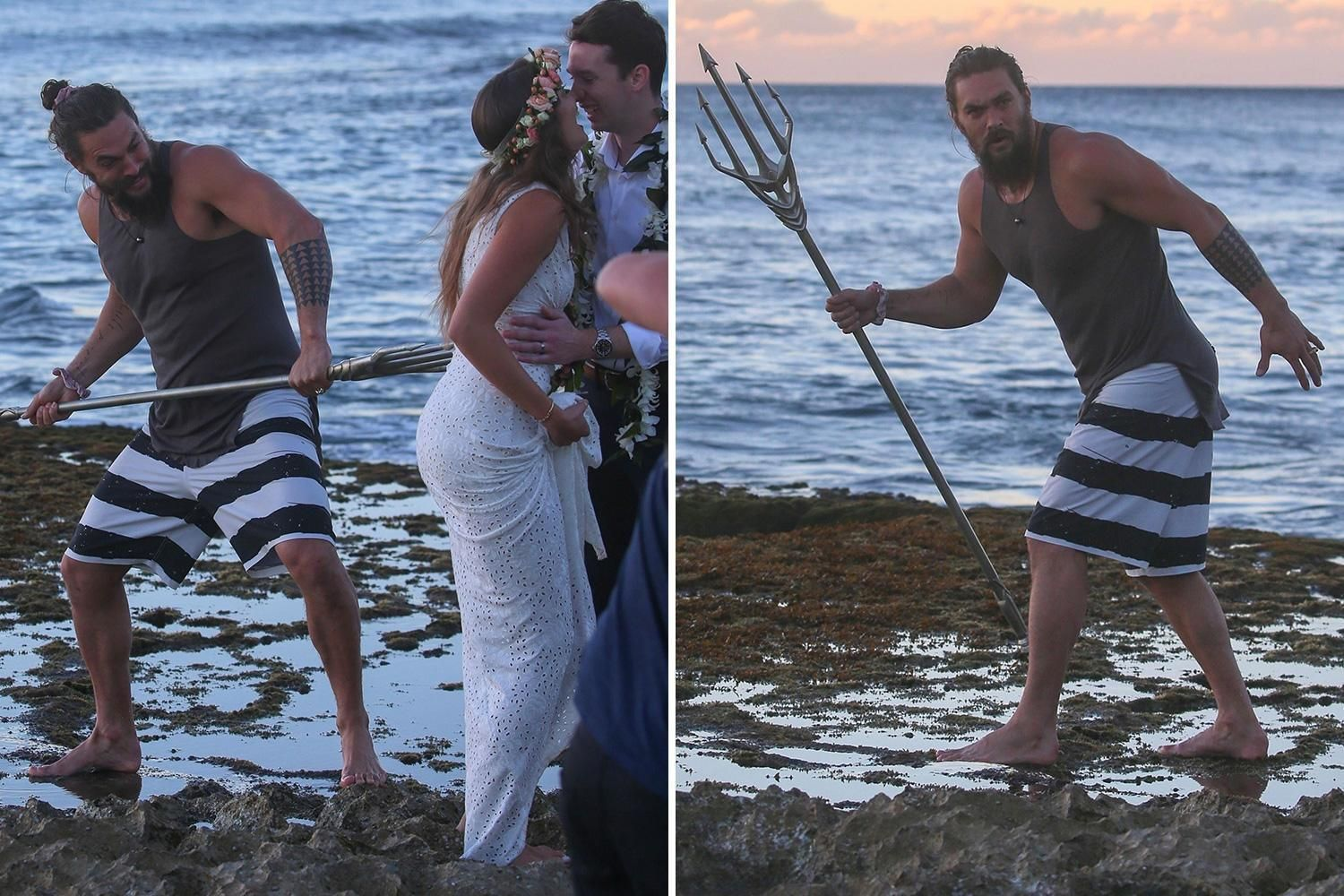 Jason Momoa photobombing wedding photos
