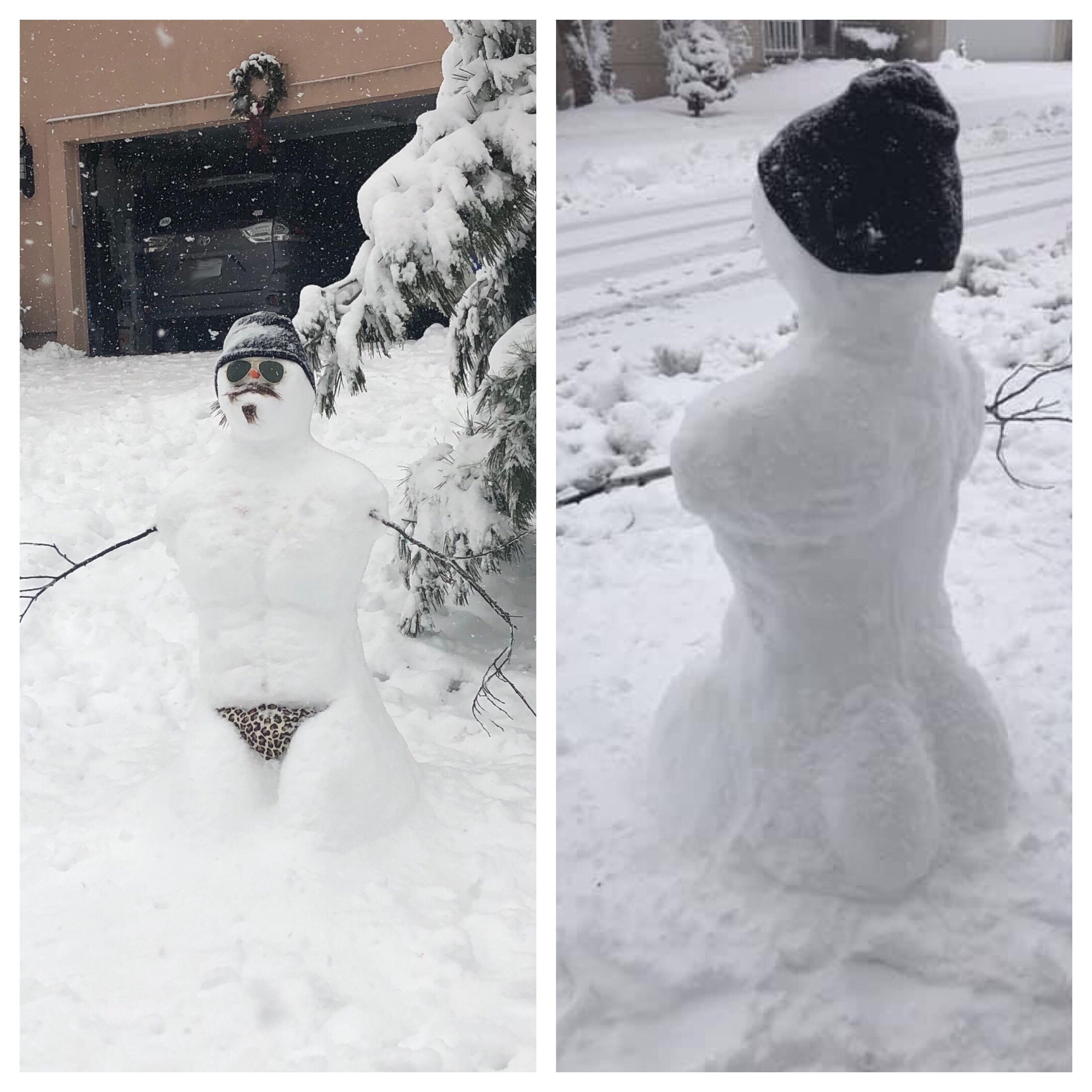 The neighbors made a snowman for the neighborhood to enjoy