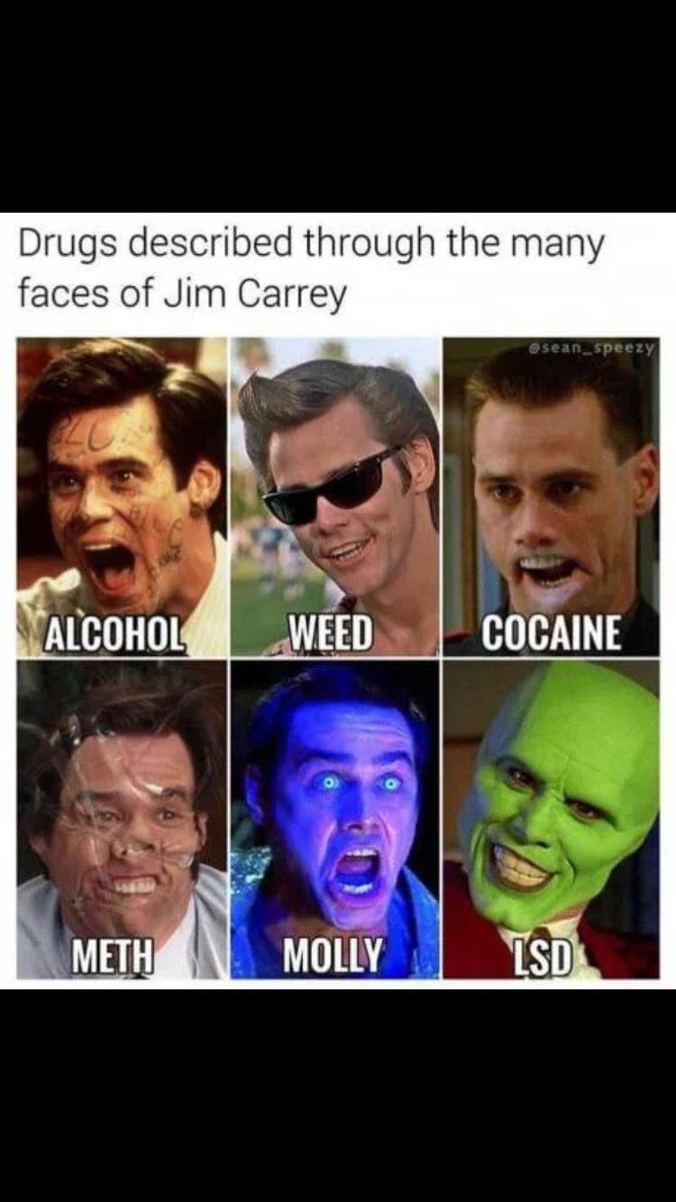 Jim Carrey's faces represents drugs...