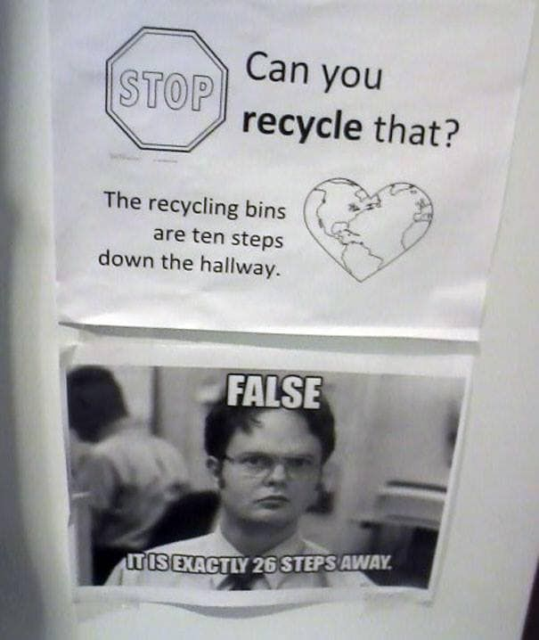 Office recycling...