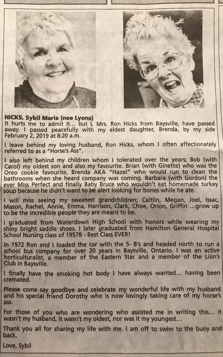 This woman's obituary proves that in death, she is funnier than I am in life...