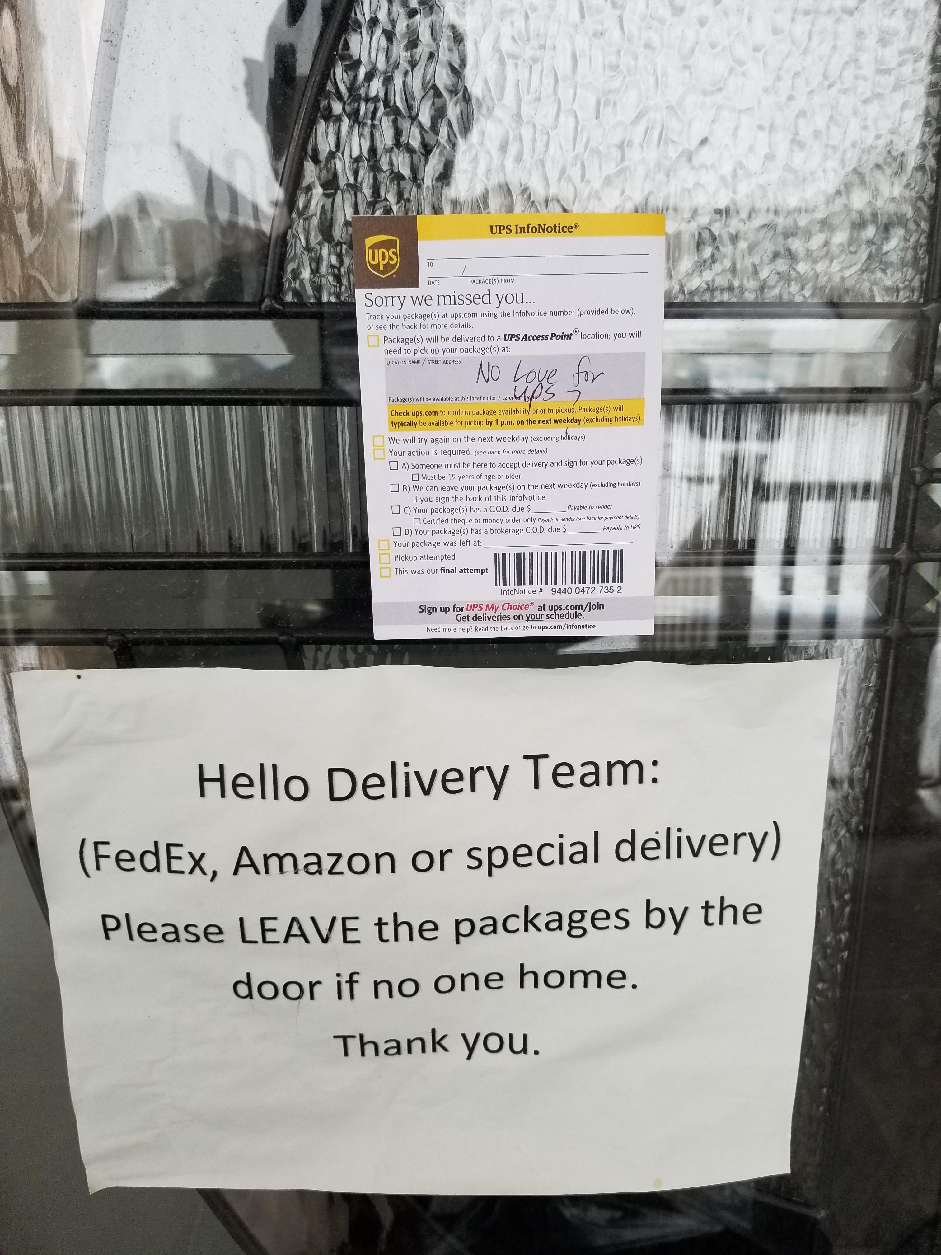 No love for UPS?