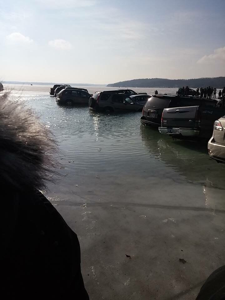 These people who parked on the ice before it melted