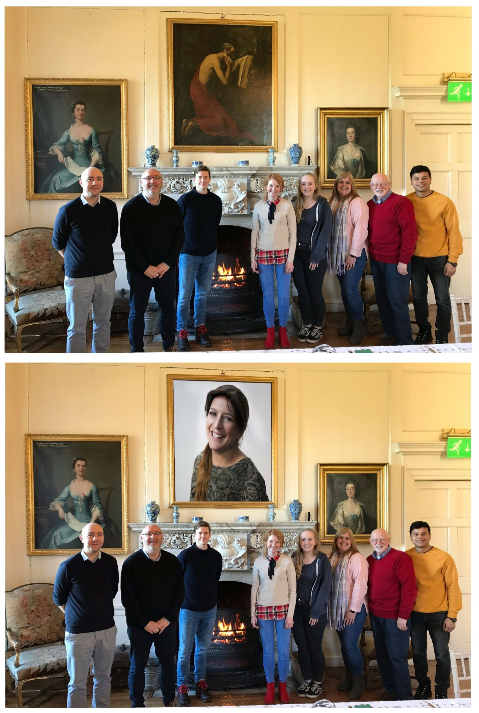 My mom missed a group photo, so she offered to Photoshop herself in:
