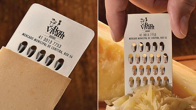 This cheese store sure does hand out grate business cards