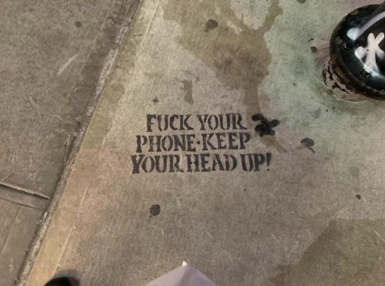 Saw this on the sidewalk in NYC ~New Yorker's are always keeping it real!
