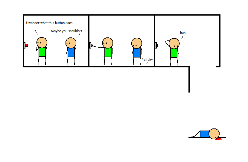 Made a Cyanide & Happiness style comic back in high school in 2008 with MS Paint. Still makes me chuckle, so I wanted to share.