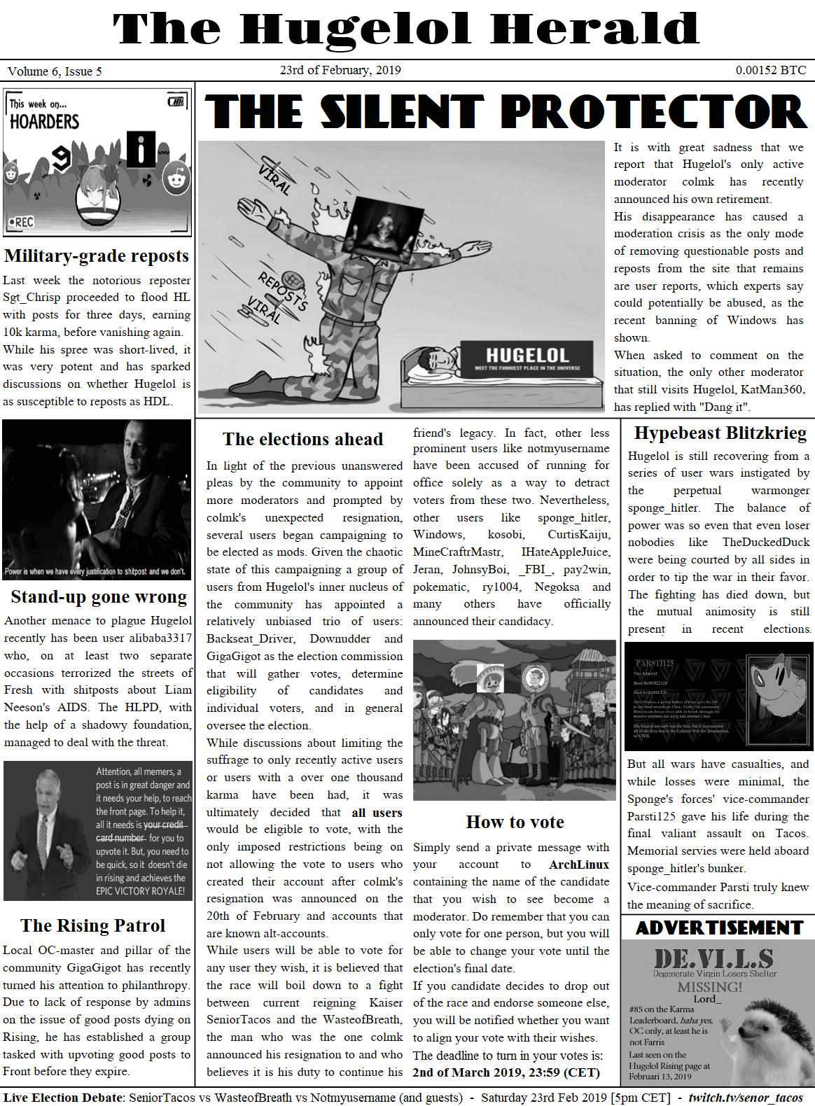 Hugelol Herald, the February election edition