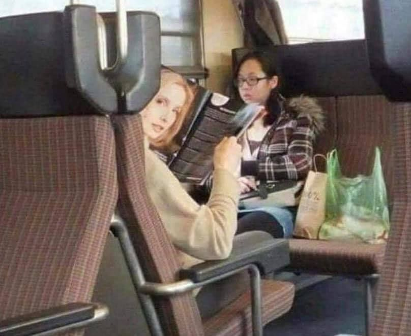 I thought this woman was staring at me for like 5 minutes before I realized it was a magazine