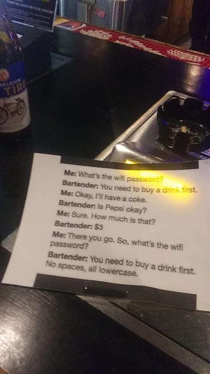 Sign at a bar.