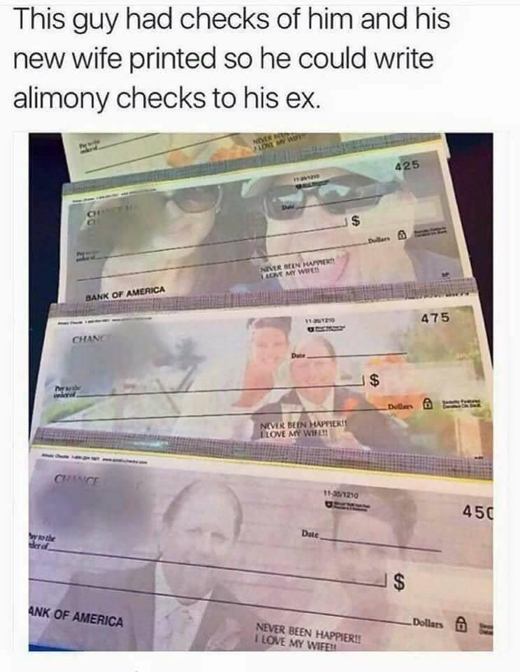 Best use of custom cheque's I've seen