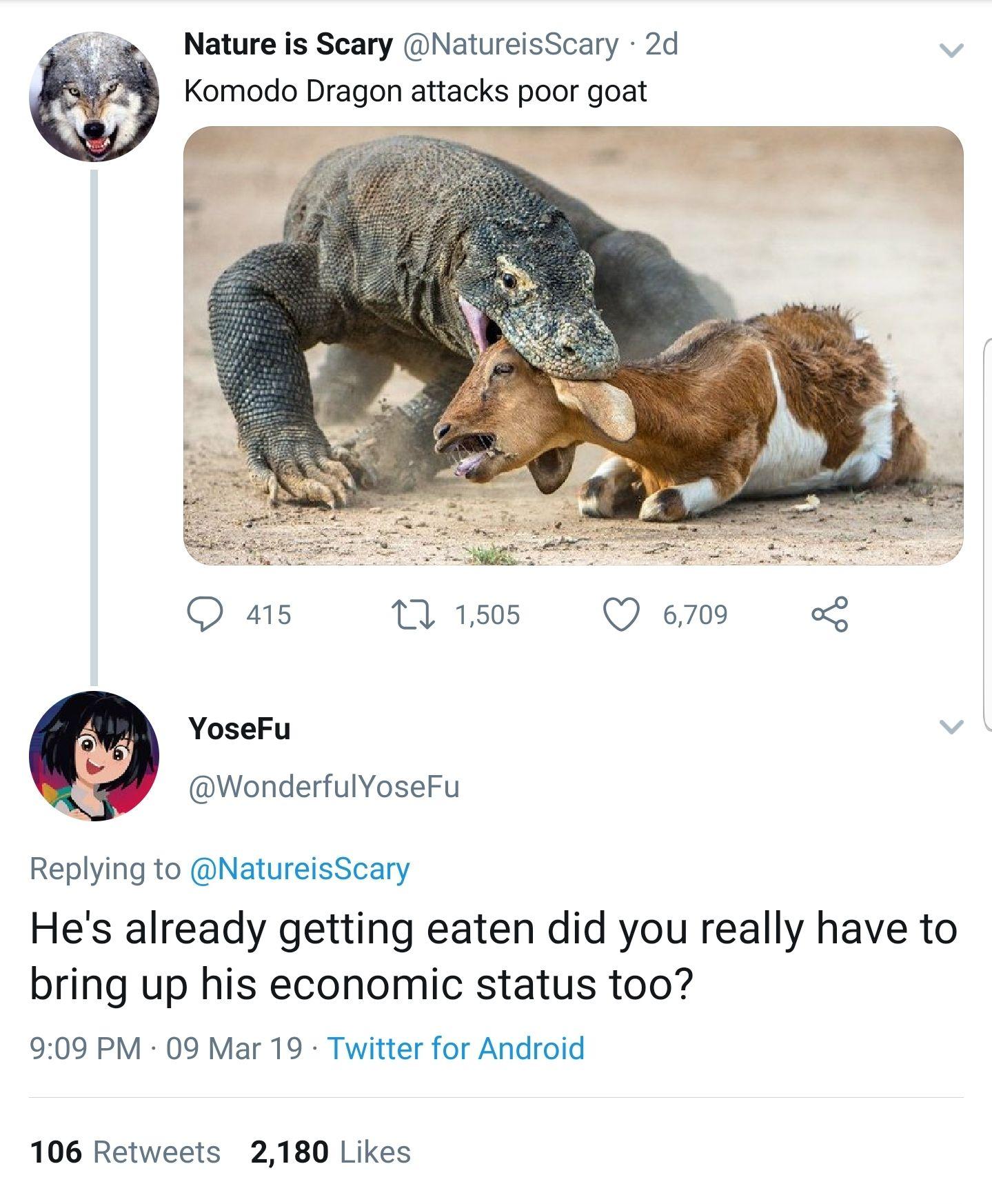 Dragon eats poor goat