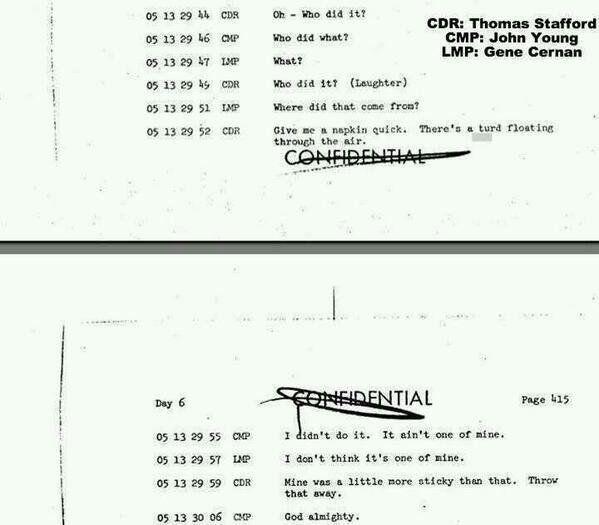 Transcript of poop problem of Apollo 10 astronauts, 1969