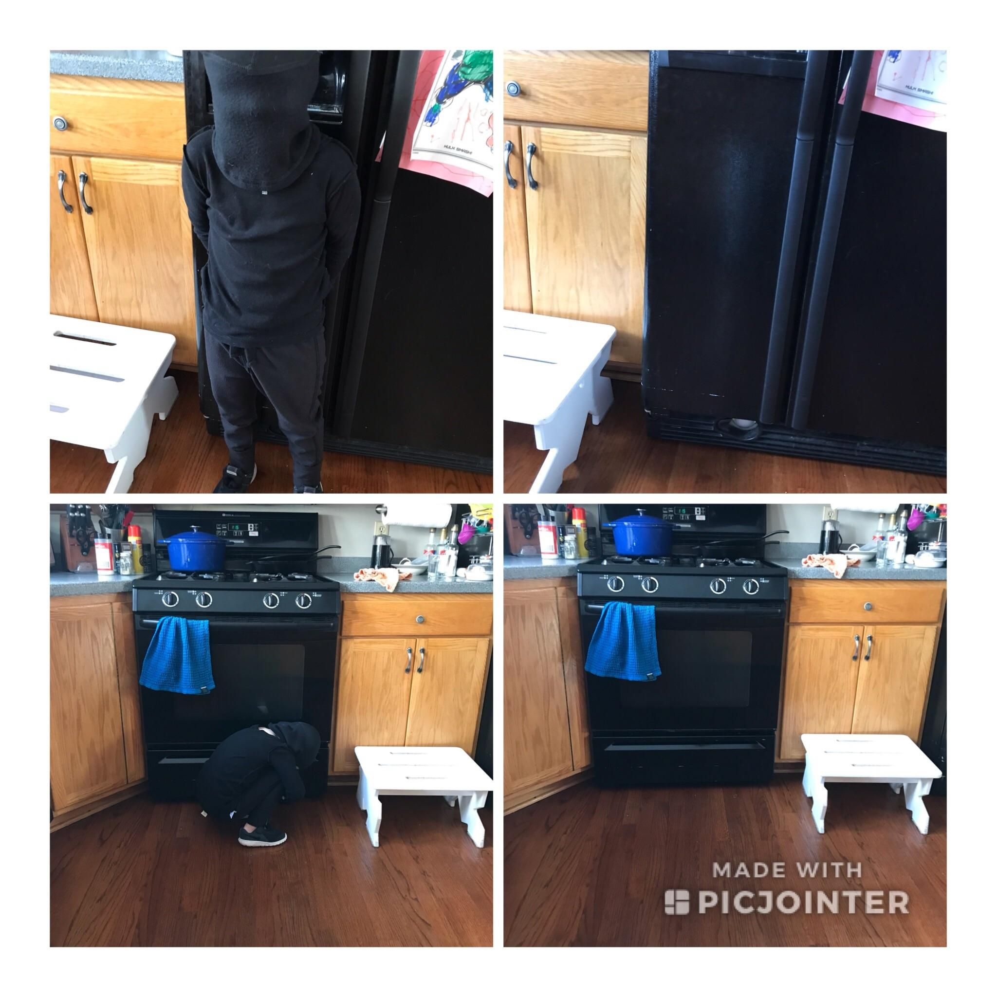 "My 4 year old thinks he's a ninja so my wife took a ""before"" picture and showed him. He absolutely thinks he's completely invisible in front of our black appliances."