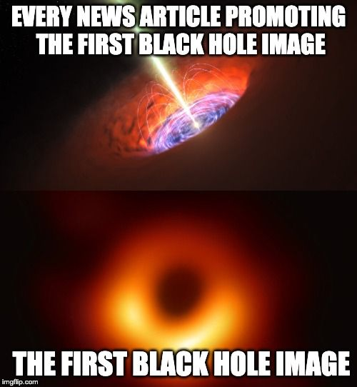 Almost every article promoting the news of the first image of a black hole.