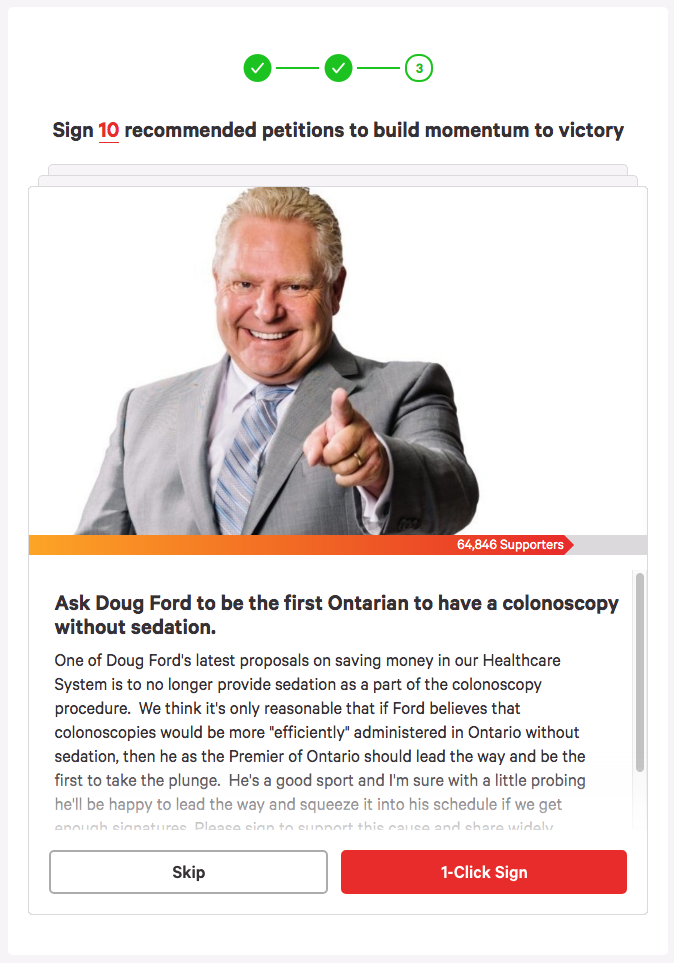 Ask Doug Ford to be the first Ontarian to have a colonoscopy without sedation