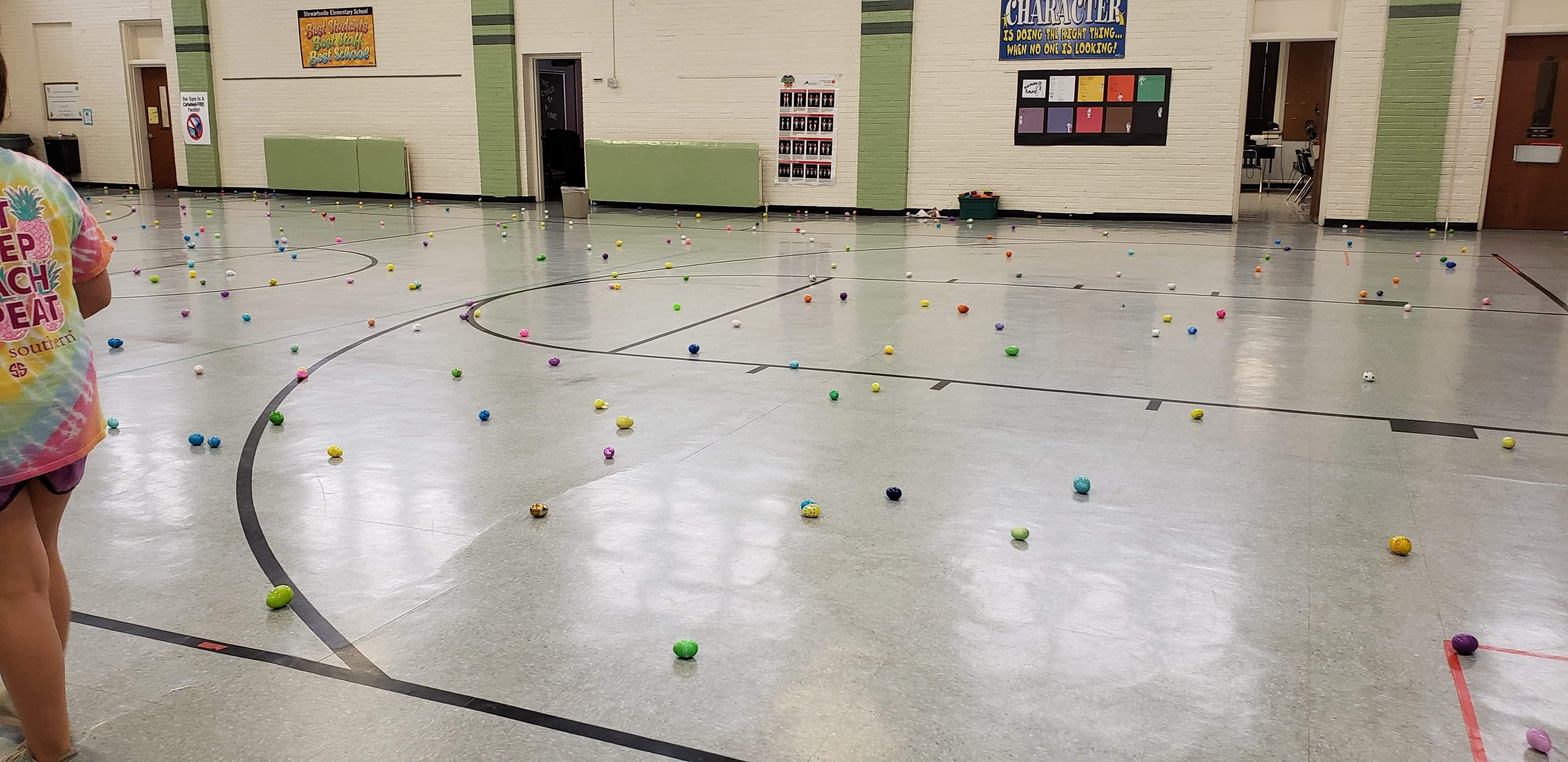 Easter egg hunt was rained out at my son's school, so everyone had to hide the eggs in the gym...