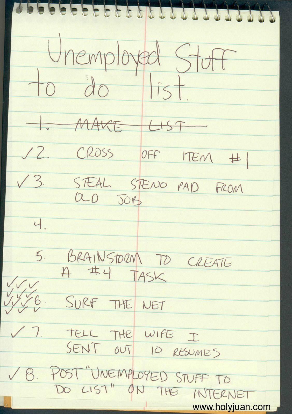 Unemployed stuff to do list