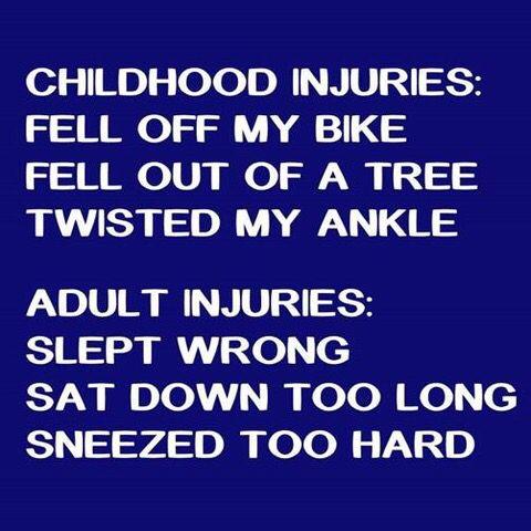 Childhood injuries vs. adult injuries