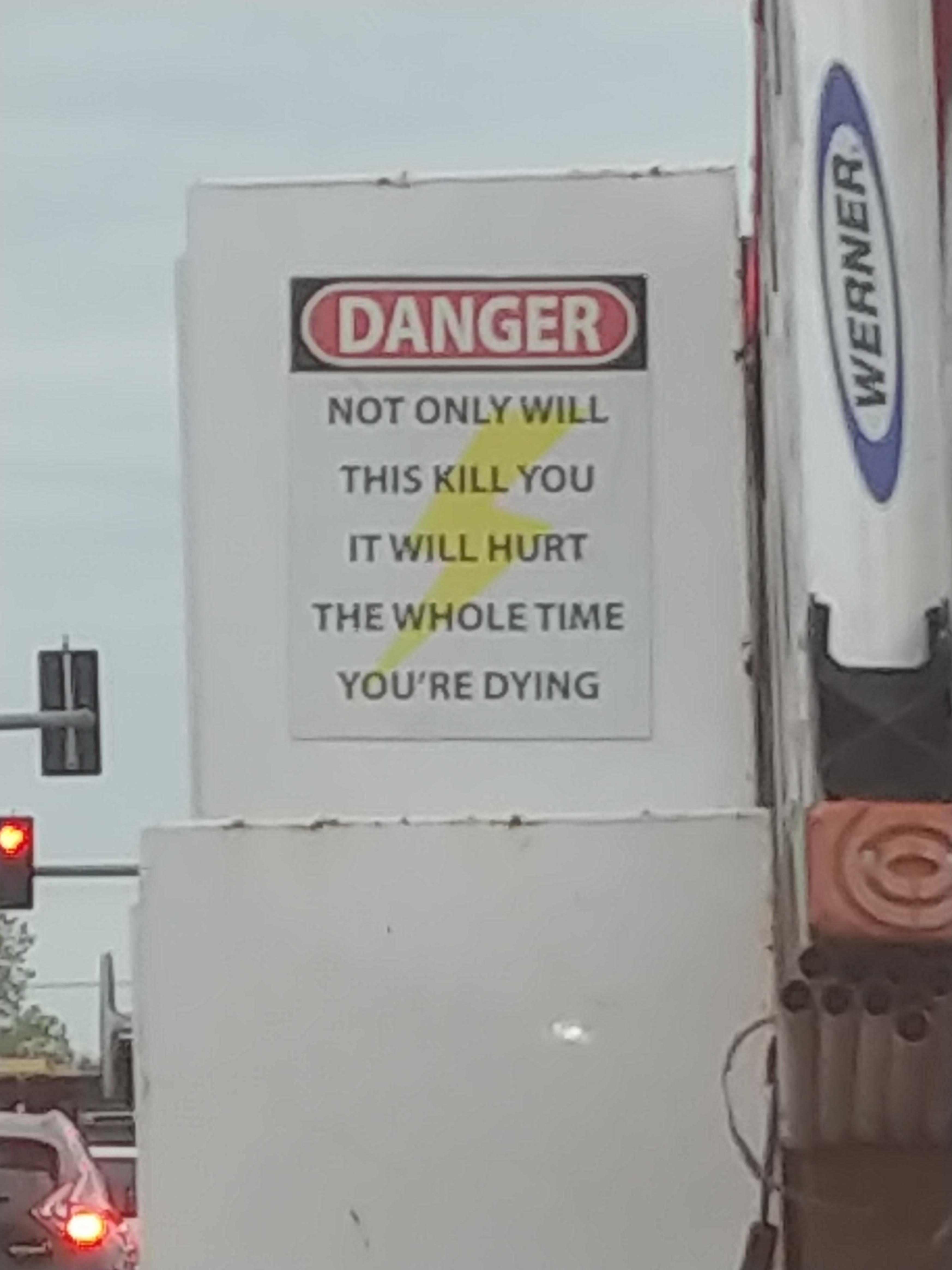Sign on an electrician's truck in my city