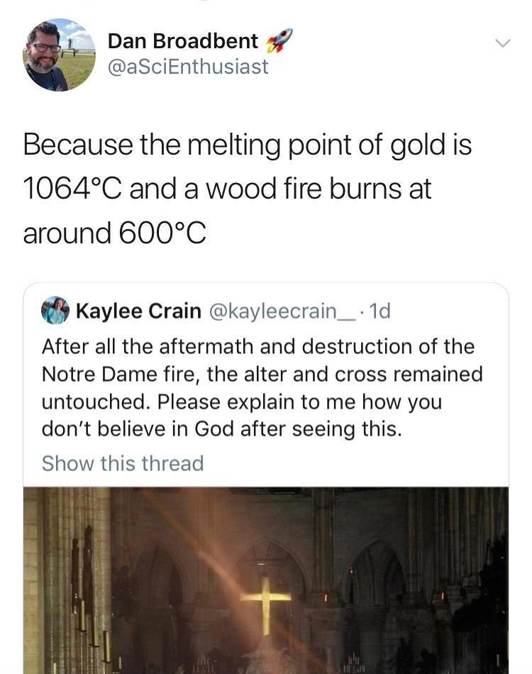 Nice try to get proof of god, Karen