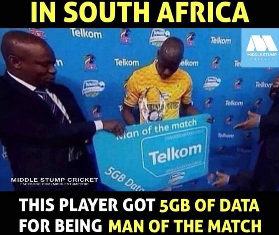 This mate got 5GB data for being player of the match!!!