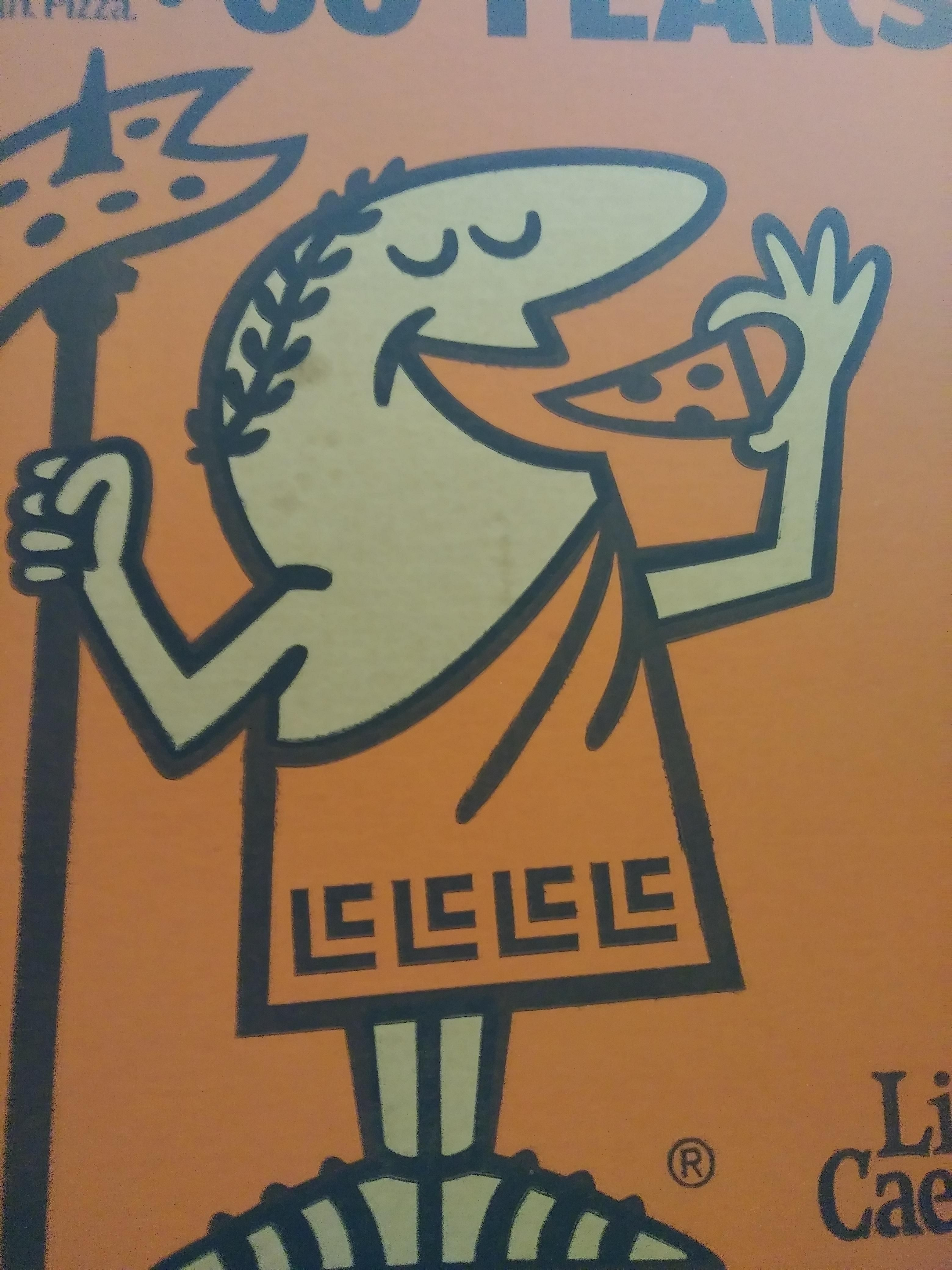 I never noticed the pattern at the bottom of Little Caesar's toga is just his initials.