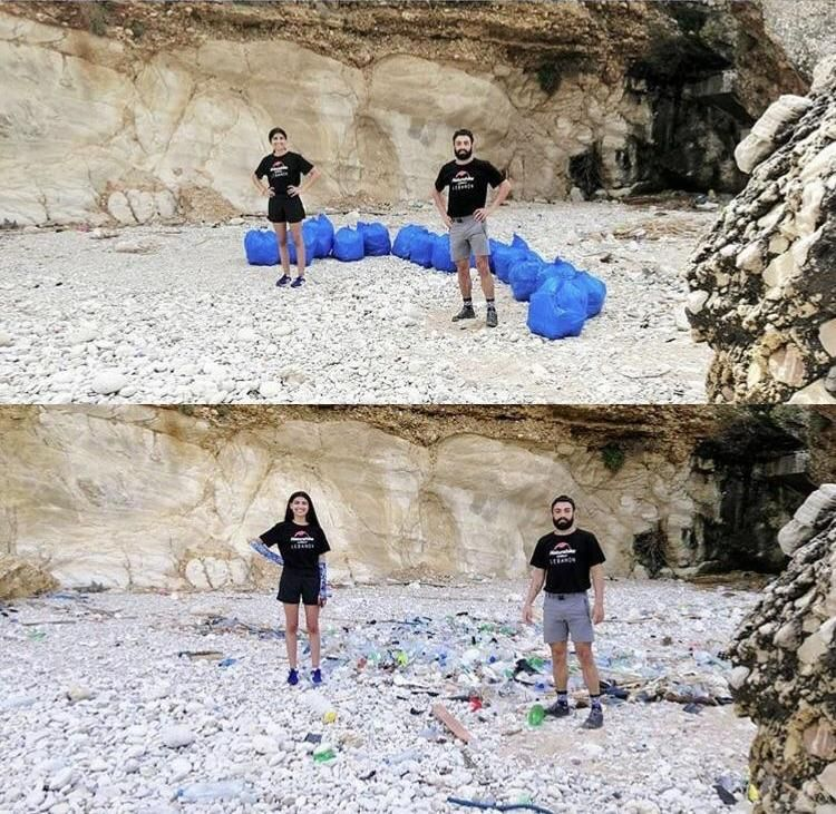 Scumbag #trashtaggers throw trash on a beach